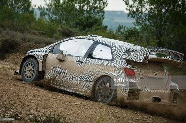 The WRC Toyota team tests the new Toyota Yaris WRC 2017 with the driver Juho Hanninen, on October 6, 2016 in Catalonia, Spain. (Photo by Xavier Bonilla/NurPhoto)